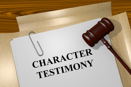 testimony: Render illustration of Character Testimony concept Title On Legal Documents Stock Photo