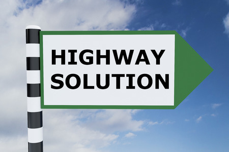 Render illustration of Highway Solution Title on road sign Stock Photo