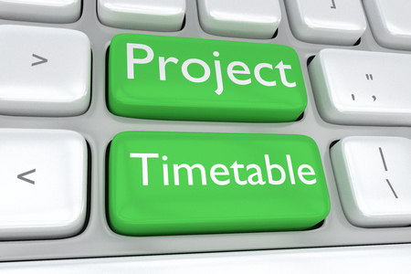 assignation: Render illustration of computer keyboard with the print Project Timetable on two adjacent green buttons