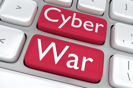 cyber war: Render illustration of computer keyboard with the print Cyber War on two adjacent red buttons