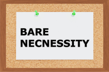 necessity: Render illustration of Bare Necessity Title on cork board Stock Photo