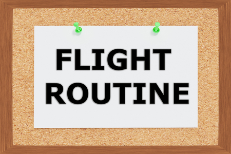 specialized job: Render illustration of Flight Routine Title on cork board Stock Photo