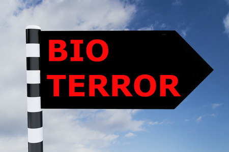 terror: Render illustration of Bio Terror Title on road sign Stock Photo