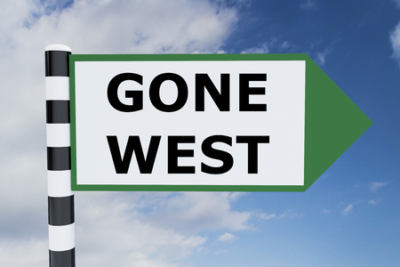 pioneers: Render illustration of Gone West Title on road sign