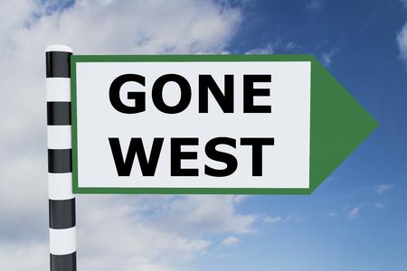 pioneering: Render illustration of Gone West Title on road sign