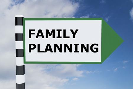 planificacion familiar: Ilustración de procesamiento de planificación de la familia Título en señal de tráfico Foto de archivo