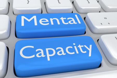 Rendu illustration du clavier de l'ordinateur avec l'impression Capacité mentale sur deux boutons bleus adjacents pâles