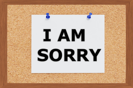 i am sorry: Render illustration of I am Sorry Title on cork board Stock Photo