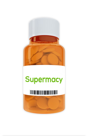 supremacy: Render illustration of Supremacy Title on pill bottle, isolated on white. Stock Photo