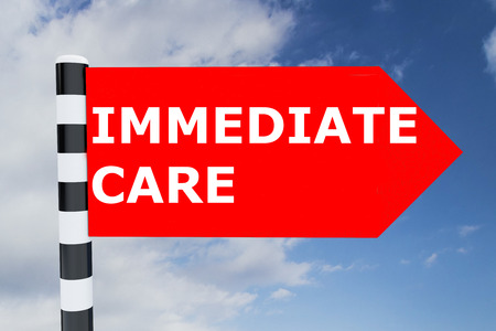 immediate: Render illustration of Immediate Care Title on road sign Stock Photo