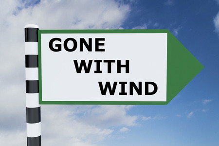 fade away: Render illustration of Gone With Wind Title on road sign