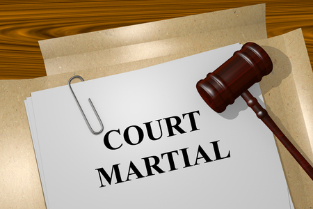 disobedience: Render illustration of Court Martial Title On Legal Documents