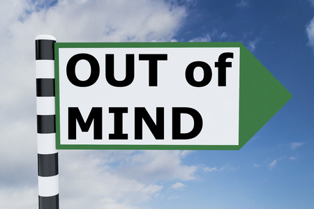 senseless: Render illustration of Gone Out of Mind Title on road sign Stock Photo