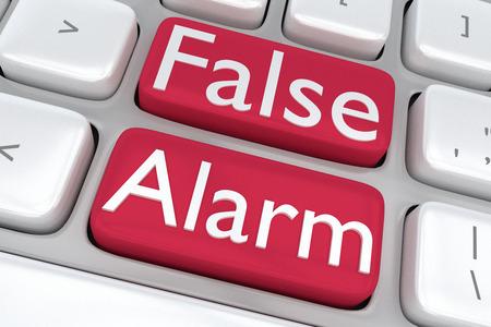 Geef illustratie van het toetsenbord van de computer met de afdruk False Alarm op twee aangrenzende rode knoppen Stockfoto - 49243856