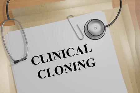 clonacion: Render ilustraci�n de t�tulo Clonaci�n cl�nica sobre Documentos M�dicos Foto de archivo