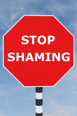 shaming: Render illustration of Stop Shaming title on road sign