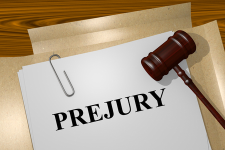 explanations: Render illustration of Perjury title On Legal Documents
