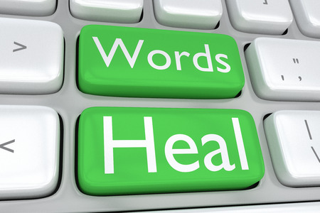 word medicine: Render illustration of computer keyboard with the print Words Heal on two adjacent green buttons