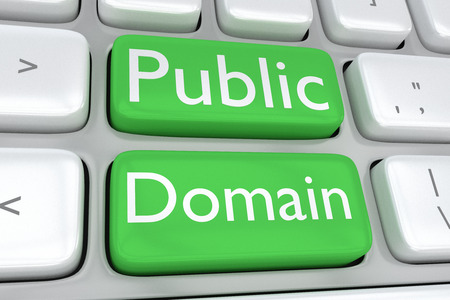 public domain: Render illustration of computer keyboard with the print Public Domain on two adjacent green buttons