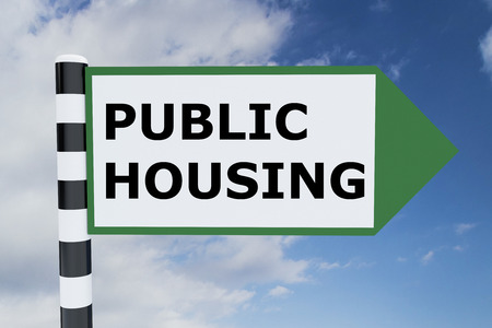 public housing: Render illustration of Public Housing Title on road sign