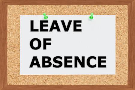 Render illustration of Leave of Absence title on cork board