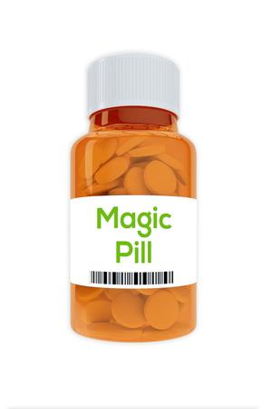 白で隔離薬瓶に魔法薬のタイトルのイラストをレンダリングします。 写真素材
