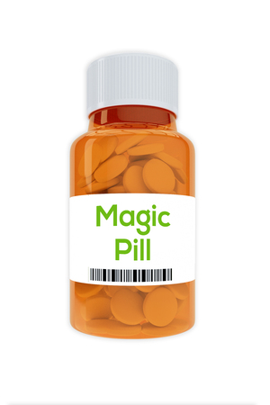 Render illustration of Magic Pill Title on pill bottle, isolated on white.