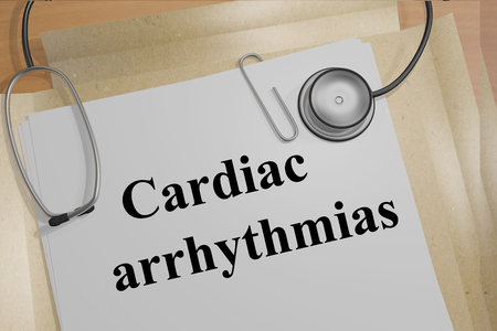 fibrillation: Render illustration of Cardiac arrhythmias title on Medical Documents Stock Photo