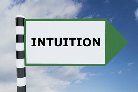 intuition: Render illustration of Intuition title on road sign