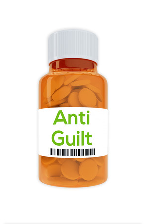 famous industries: Render illustration of Anti Guilt title on pill bottle, isolated on white. Stock Photo