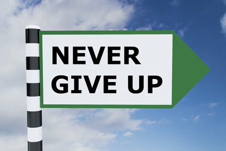 failed plan: Render illustration of Never Give Up Title on road sign