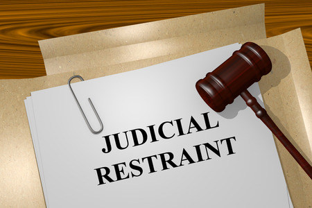 detain: Render illustration of Judicial Restraint concept Title On Legal Documents Stock Photo