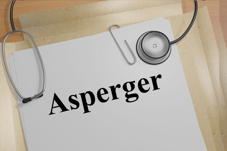 child education: Render illustration of Asperger title on Medical Documents Stock Photo