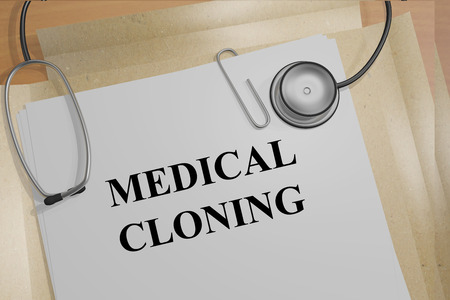 cloning: Render illustration of Medical Cloning title on Medical Documents Stock Photo