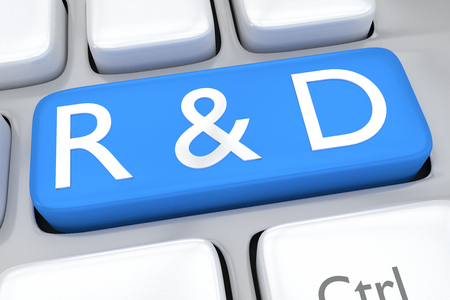 rd: Render illustration of computer keyboard with the print R&D on pale blue button