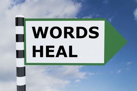 universal enlightenment: Render illustration of Words Heal title on road sign
