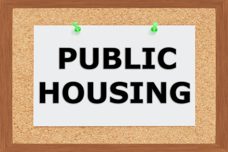 public housing: Render illustration of Public Housing Title on cork board Stock Photo