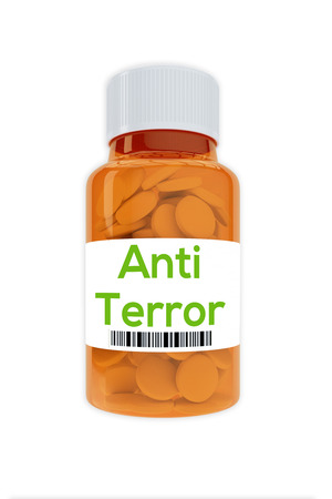 swat teams: Render illustration of Anti Terror title on pill bottle, isolated on white.