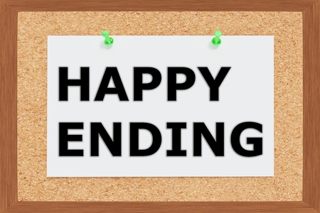 ending: Render illustration of Happy Ending title on cork board Stock Photo