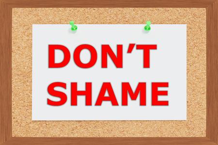 torment: Render illustration of Dont Shame title on cork board Stock Photo