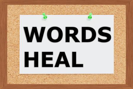 universal enlightenment: Render illustration of Words Heal title on cork board