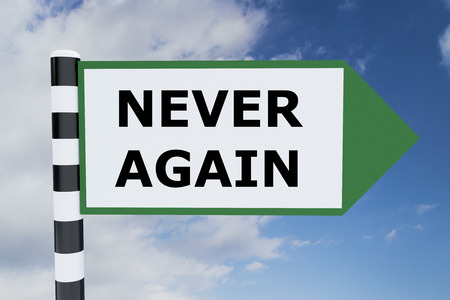 Render illustration of Never Again Title on road sign