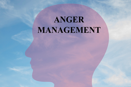 anger management: Render illustration of Anger Management Title on head silhouette, with cloudy sky as a background.