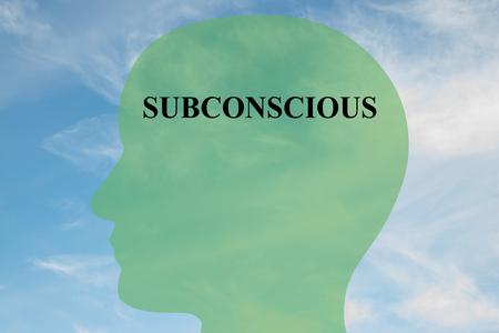 Ilustración de procesamiento de título subconsciente en silueta de la cabeza, con el cielo nublado como fondo