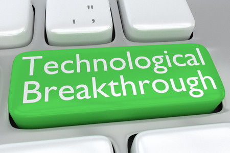 technological: Render illustration of computer keyboard with the print Technological Breakthrough on a green button
