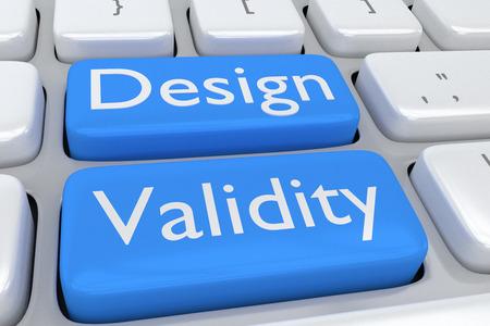 validez: Render ilustración de teclado de ordenador con la letra Diseño validez de dos botones de color azul pálido adyacentes