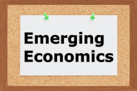 emerging: Render illustration of Emerging Economics title on cork board