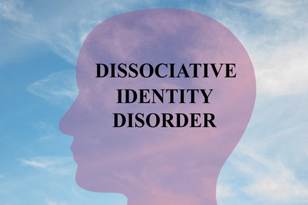 mental illness: Render illustration of Dissociative Identity Disorder Title on head silhouette, with cloudy sky as a background.