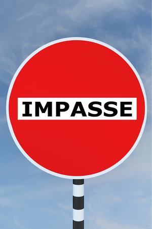 impasse: Render illustration of Impasse title on No Entry road sign Stock Photo