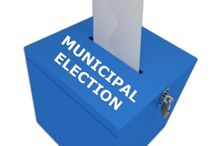 local council election: Render illustration of Municipal Election title on ballot box, isolated on white. Stock Photo